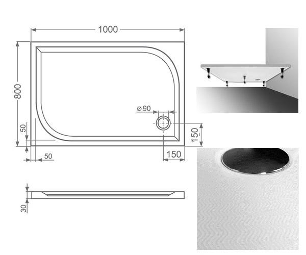 поддон из литьевого мрамора ROLTECHNIK RECTAN-M 100x80