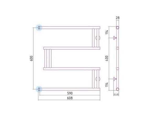 полотенцесушитель СУНЕРЖА HIGH-TECH M 600х600