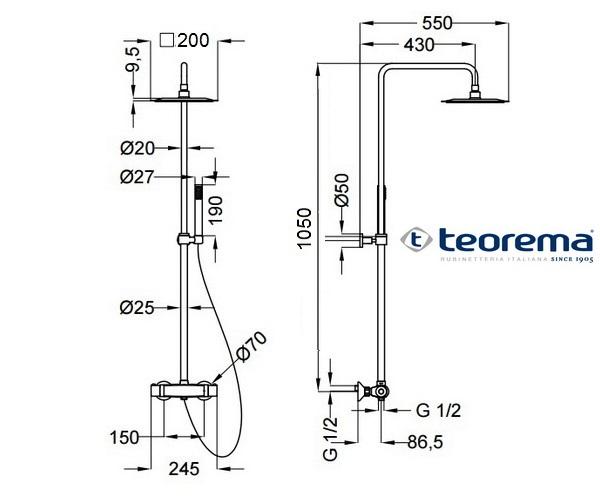 душевая система TEOREMA SQUARE 3