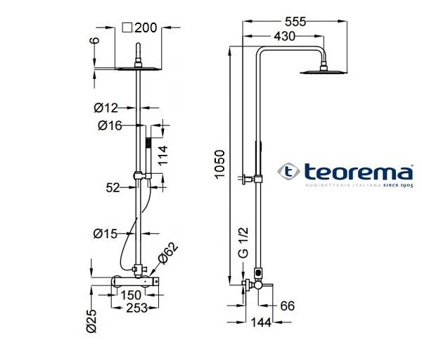 душевая система TEOREMA SQUARE 4