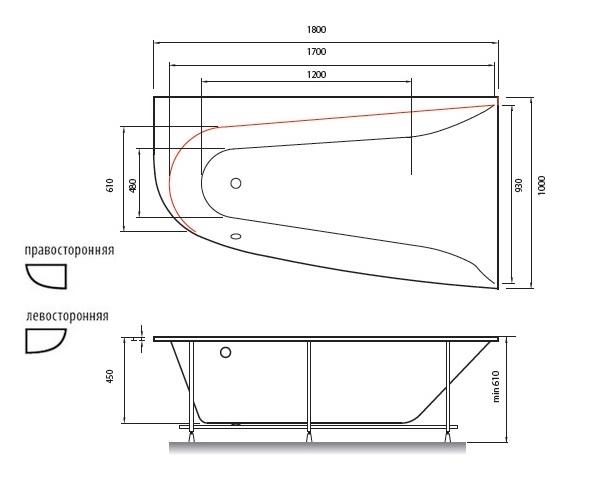 ванна акриловая VAYER BOOMERANG 180х100