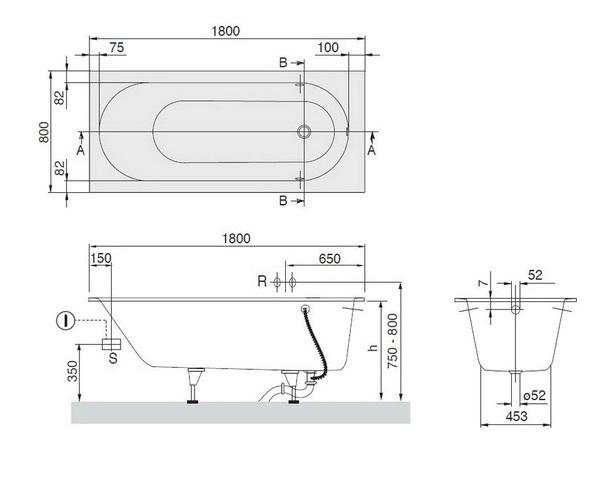 ванна акриловая VILLEROY & BOCH OBERON 180х80