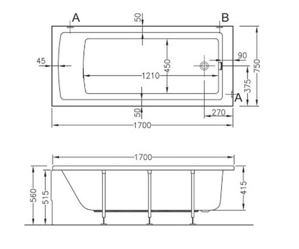 ванна акриловая VITRA NEON 170х75