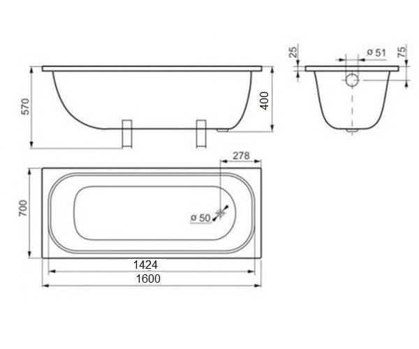 ванна стальная ВИЗ ANTIKA 160х70