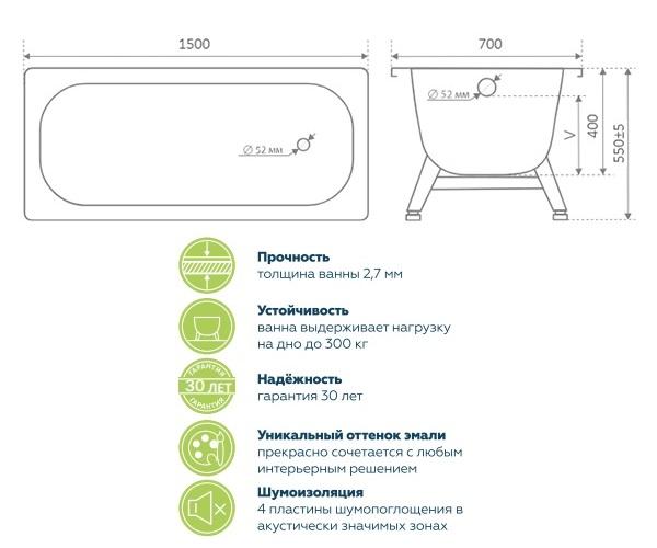 ванна стальная ВИЗ TEVRO 150х70