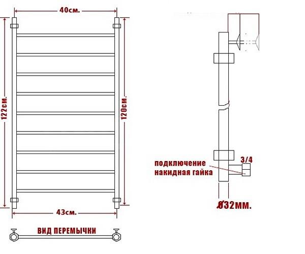 полотенцесушитель НИКА CLASSIC ЛП 400х1200