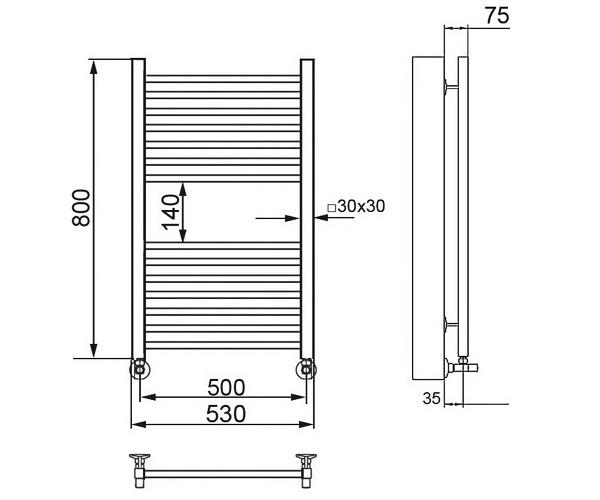 полотенцесушитель НИКА MODERN ЛМ2 500х800