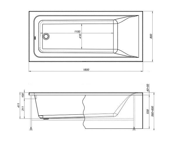 ванна акриловая AQUANET BRIGHT 180х80