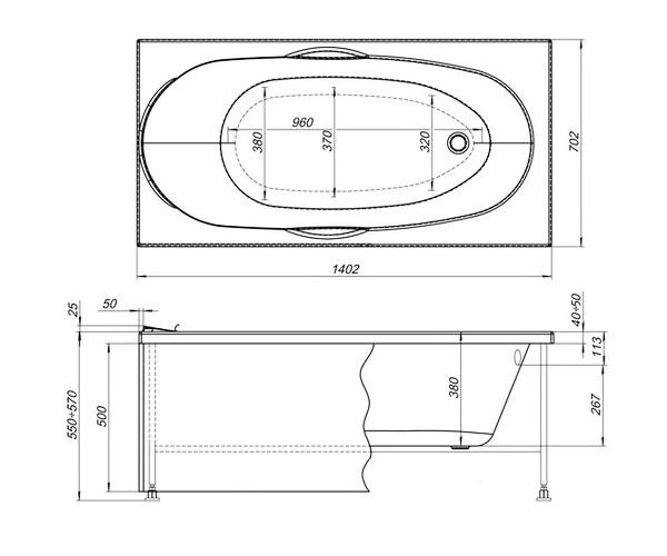 ванна акриловая AQUANET DALI 140х70