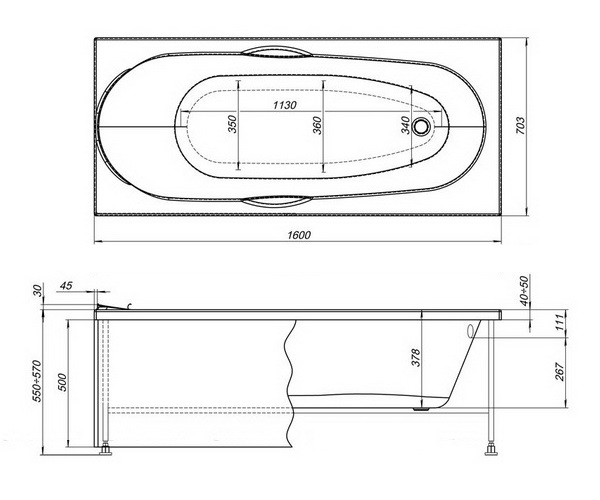 ванна акриловая AQUANET DALI 160х70
