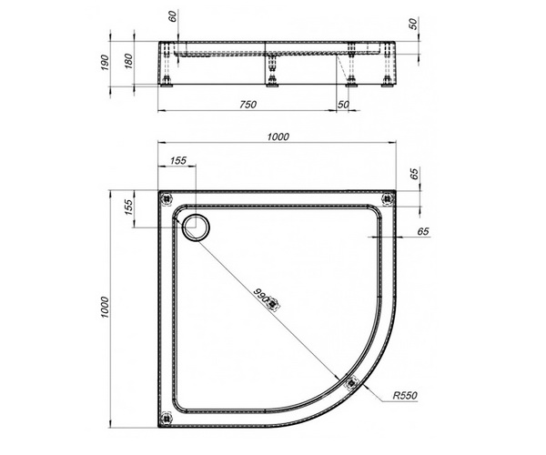 поддон акриловый AQUANET GL180-1/4 100