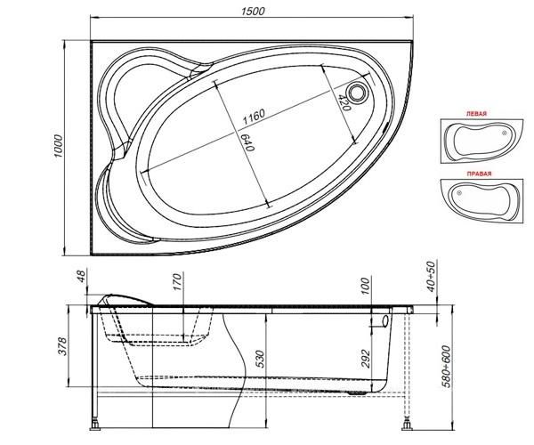ванна акриловая AQUANET LYRA 150х100