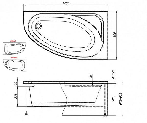 ванна акриловая AQUANET MIA 140х80