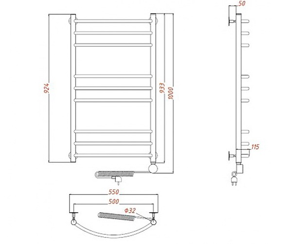 полотенцесушитель AQUANET ROMEO (г2) 500х1000