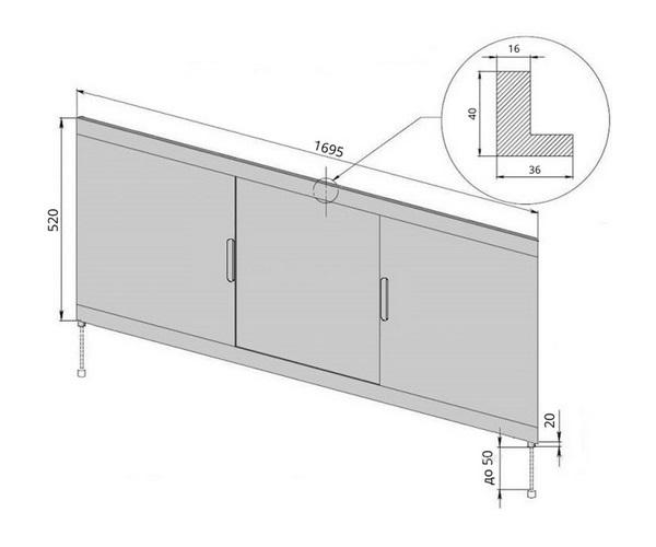 AQUANET VITA панель для ванны 170 см