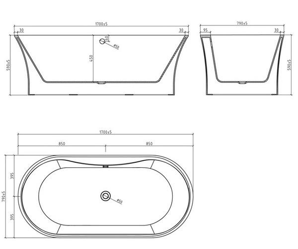 ванна акриловая BELBAGNO BB201 170х80