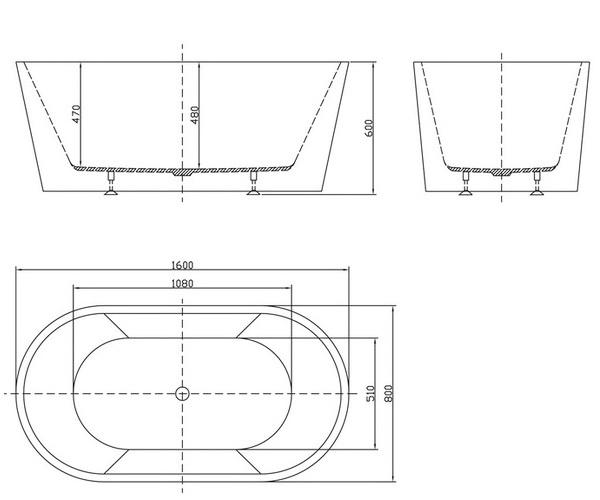 ванна акриловая BELBAGNO BB202 160х80