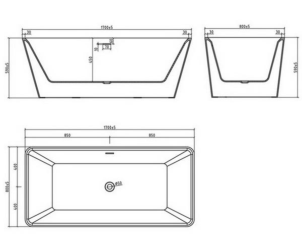 ванна акриловая BELBAGNO BB60 170х80