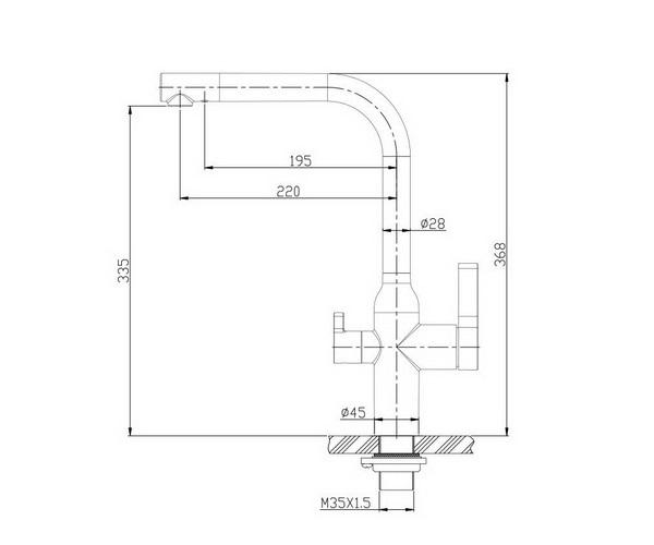 смеситель для кухни BELBAGNO с каналом для фильтрованной воды