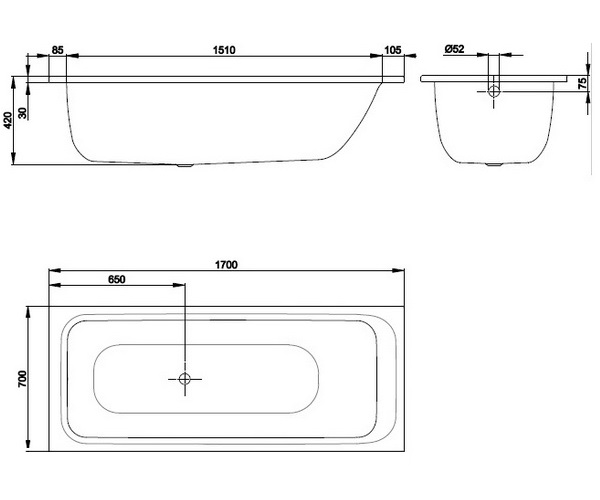 ванна стальная BETTE SELECT 170х70
