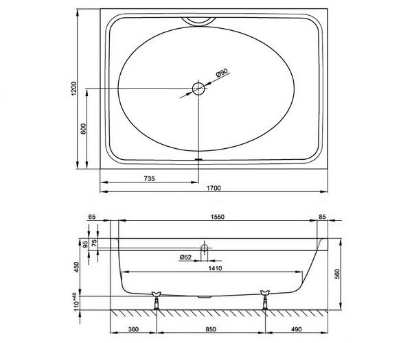 ванна стальная BETTE SPA 170х120