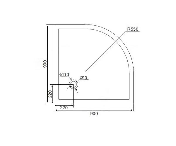 поддон акриловый BRAVAT TYPE-R1 90