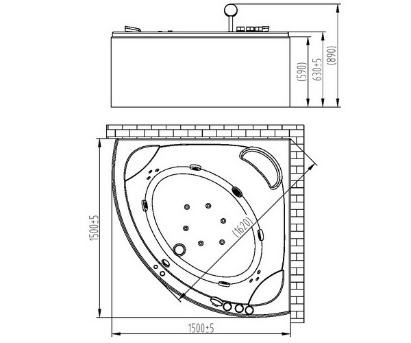 ванна акриловая ORANS 150х150