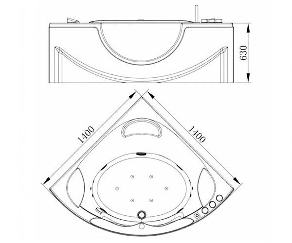 ванна акриловая ORANS 140х140