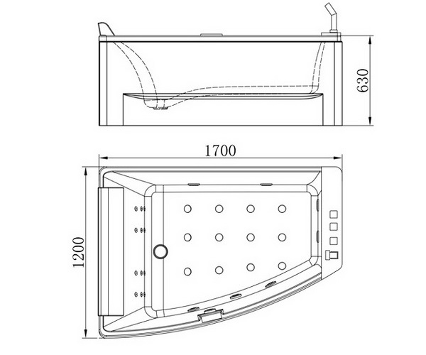 ванна акриловая ORANS 170х120