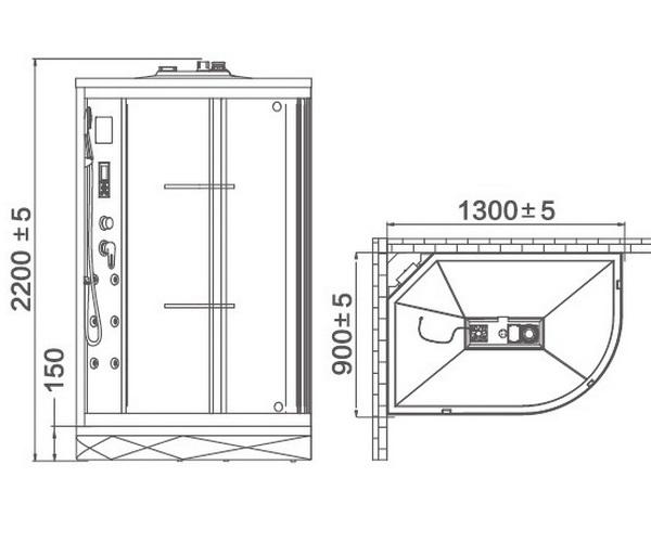 душевая кабина ORANS 130х90