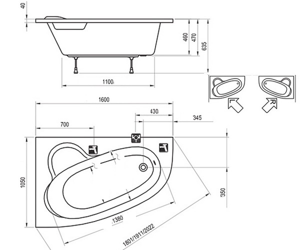 ванна акриловая RAVAK ASYMMETRIC 160х105
