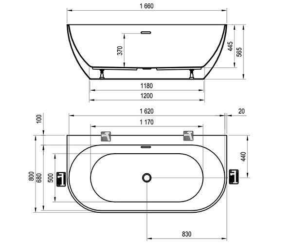 ванна акриловая RAVAK FREEDOM 166x80