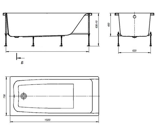 ванна акриловая ROCA ELBA 150х75
