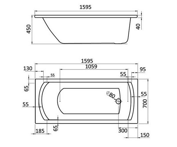 ванна акриловая SANTEK МОНАКО 160х70