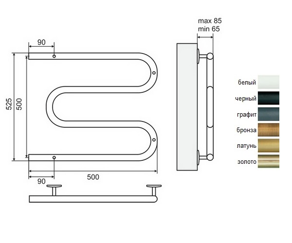 полотенцесушитель TERMINUS М-образный 500х500