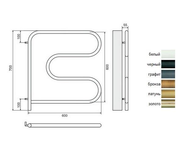 полотенцесушитель TERMINUS F-образный 600х600