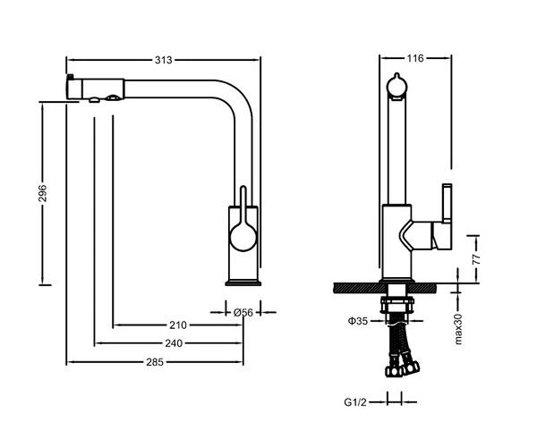 смеситель для кухни TIMO HETTE с каналом для фильтрованной воды