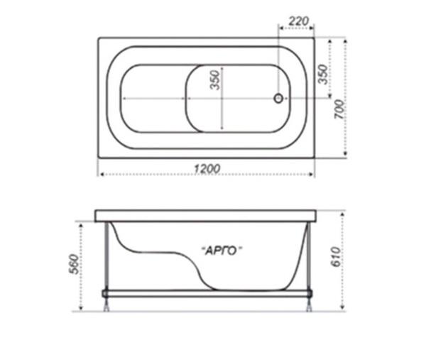 ванна акриловая TRITON АРГО 120х70