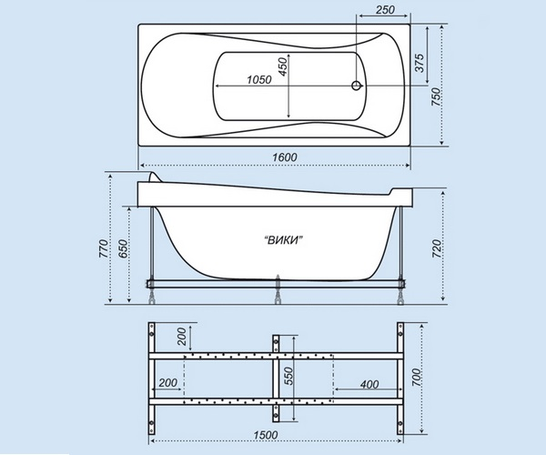 ванна акриловая TRITON ВИКИ 160х75