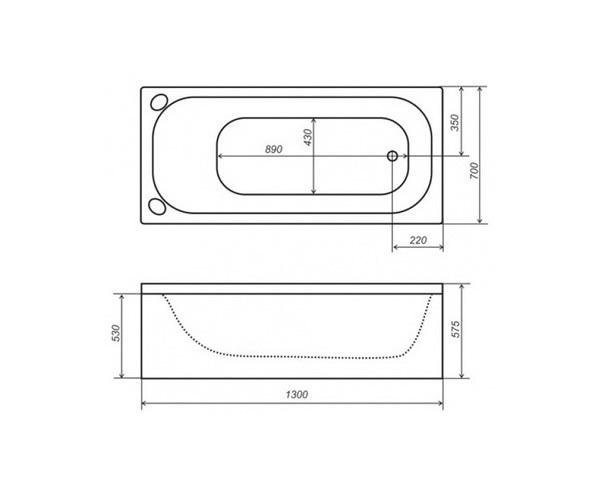 ванна акриловая TRITON СТАНДАРТ 130х70