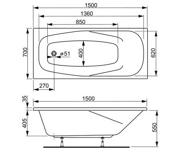 ванна акриловая VAGNERPLAST ARONIA 150х70