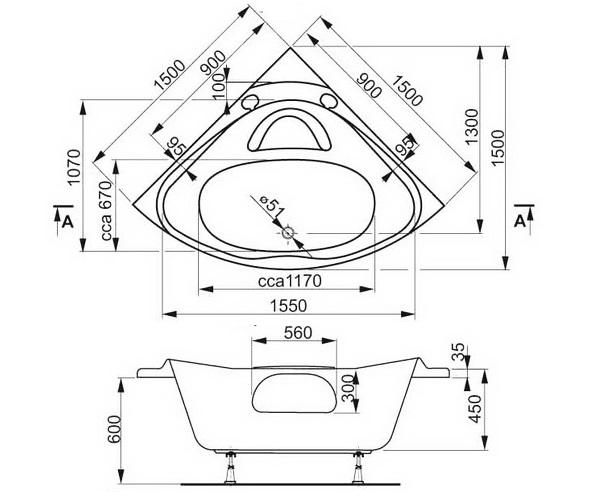 ванна акриловая VAGNERPLAST ATHENA 150х150