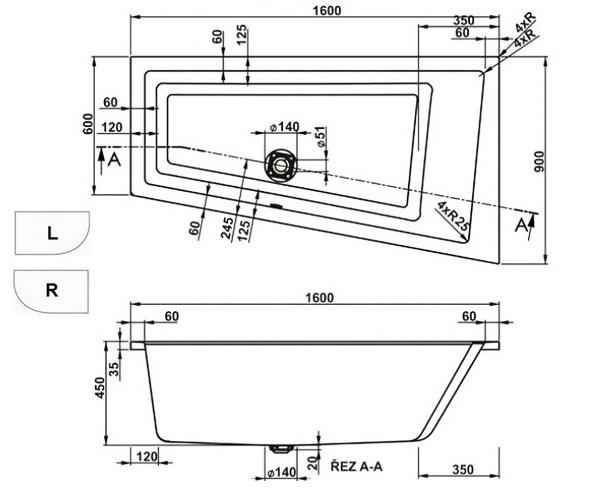 ванна акриловая VAGNERPLAST CAVALLO 160х90