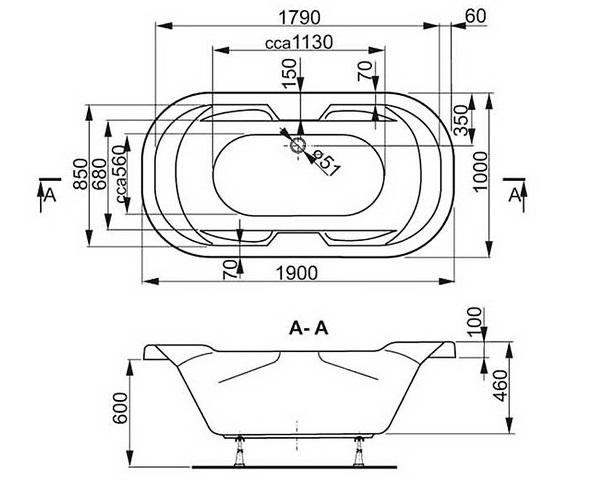 ванна акриловая VAGNERPLAST GAIA 190х100