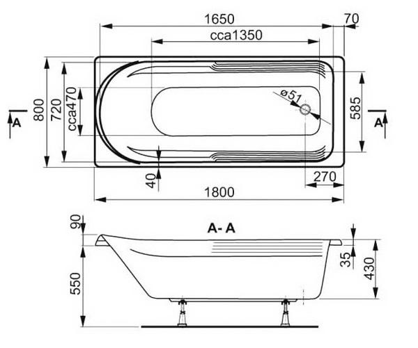 ванна акриловая VAGNERPLAST HERA 180х80