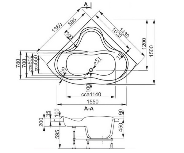 ванна акриловая VAGNERPLAST IRIS 143х143