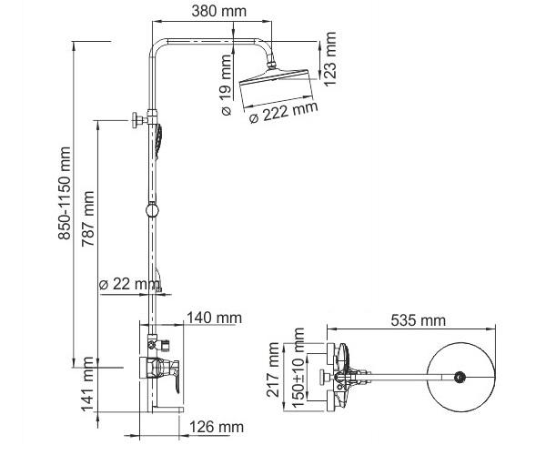 душевая система WASSERKRAFT A16601